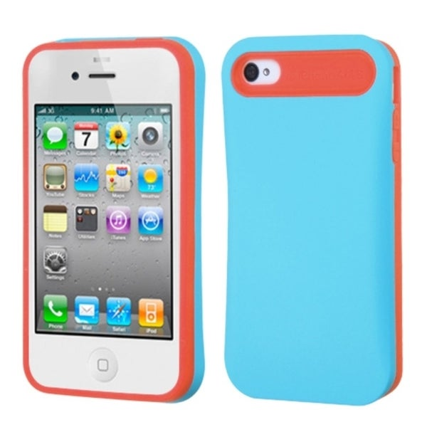 INSTEN Baby Blue/ Orange Card Wallet Back Phone Case Cover for Apple iPhone 4/ 4S