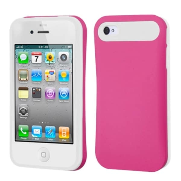 INSTEN Hot Pink/ White Card Wallet Back Phone Case Cover for Apple iPhone 4/ 4S