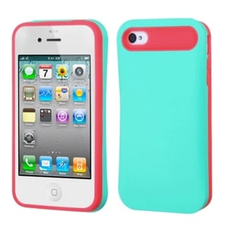 INSTEN Teal Green/ Hot Pink Card Wallet Back Phone Case Cover for Apple iPhone 4/ 4S