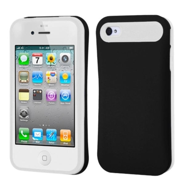 INSTEN Black/ White Card Wallet Back Phone Case Cover for Apple iPhone 4/ 4S