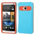 BasAcc Baby Blue/Orange Card Wallet Back Case for HTC One M7