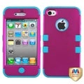 BasAcc Hot Pink/ Tropical Teal TUFF Hybrid Case for Apple iPhone 4/ 4S