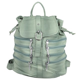 Journee Collection Women's Zipper Detail Large Faux Leather Backpack
