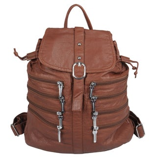 Journee Collection Women's Zipper-Close Detail Faux Leather Backpack