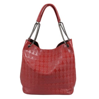 Journee Collection Women's Embossed Skull Double Handle Tote Bag