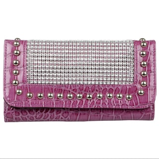 Journee Collection Women's Studded Croc Print Wallet
