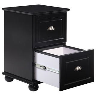 Two Drawer Black Storage Cabinet