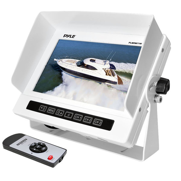 "Marine Grade Water Proof IPX7 7"" LCD Wide-Screen Monitor with Anti-Glare Shield & Universal Stand"