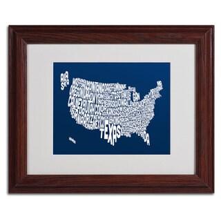 Michael Tompsett 'NAVY-USA States Text Map' Framed Matted Art