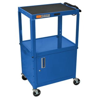 Blue Rolling Height Adjustable Steel AV Storage Utility Cart