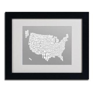 Michael Tompsett 'GREY-USA States Text Map' Framed Matted Art