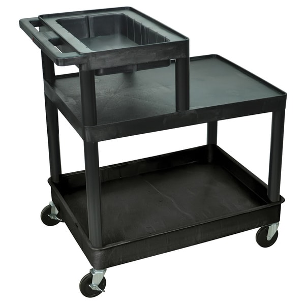 Black Rolling 3 Tube/ Flat Shelf Plastic Service Utility Cart