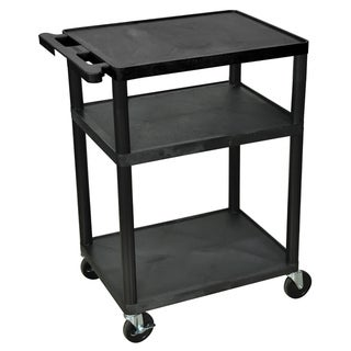 Offex Black Mobile 3-shelf Adjustable Storage AV/ Utility Cart with 4 Casters
