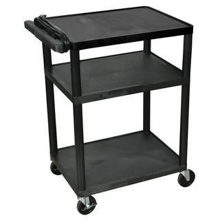 Offex Black Mobile 3-shelf Adjustable Storage AV/ Utility Cart with Electric, 4-casters