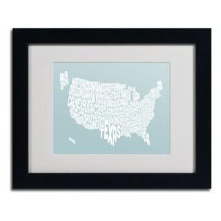 Michael Tompsett 'DUCK EGG-USA States Text Map' Framed Matted Art