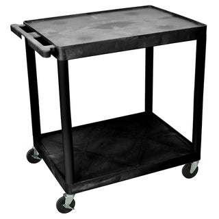 Offex Black Rolling 2-shelf Structural Foam Molded Plastic Utility Cart with Casters
