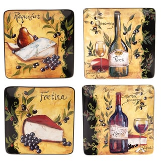 Certified International Wine and Cheese Party Salad Plate (Set of 4)