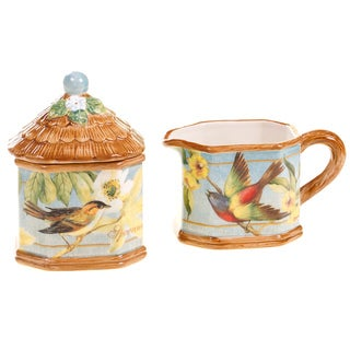 Certified International Botanical Birds Sugar and Creamer Set