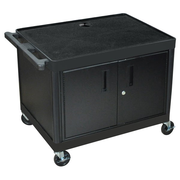 Luxor Mobile Black Presentation AV Utility Cart with 2 Storage Shelf/ Locking Cabinet'/ Electric/ 4-inch Heavy Duty Casters