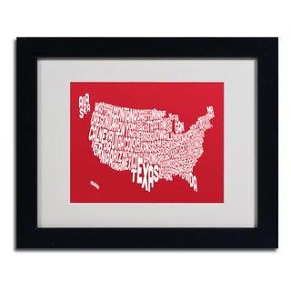 Michael Tompsett 'RED-USA States Text Map' Framed Matted Art