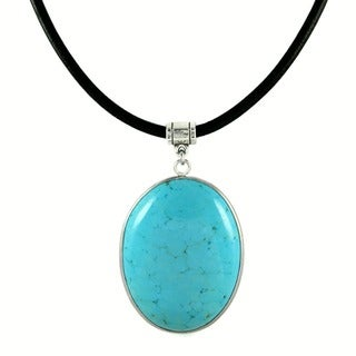 Jewelry by Dawn Blue Turquoise Magnesite Greek Leather Necklace