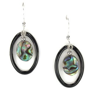 Jewelry by Dawn Black Oval Hoops With Abalone Drop Earrings