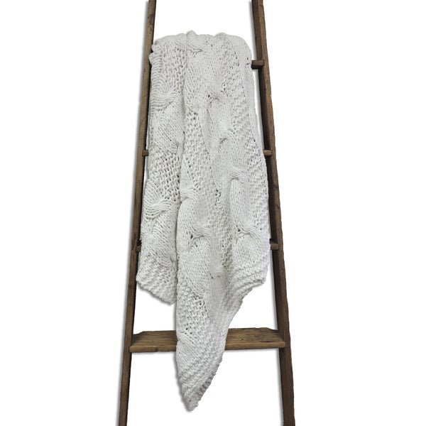 Michaela White Knitted Throw Blanket