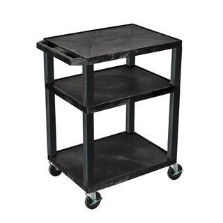 Luxor Mobile Black Multi-Purpose 3 Shelf Tuffy AV Cart / Electric/ Heavy Duty Casters