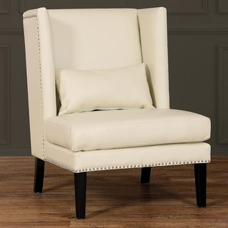 Chelsea Cream Leather Wing Chair