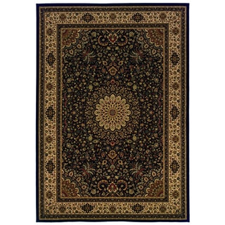 Traditional Black/ Ivory Area Rug (9'10 x 12'10)