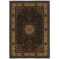 Traditional Oriental Black/ Ivory Area Rug (1'10 x 3'3)