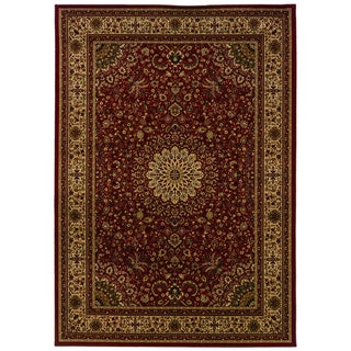 Traditional Red/ Ivory Area Rug (6'7 x 9'6)