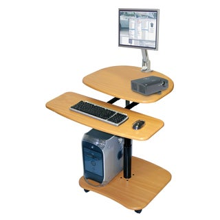Offex Mobile Height Adjustable Heavy Duty Wood Laminate Computer Workstation with Keyboard Shelf