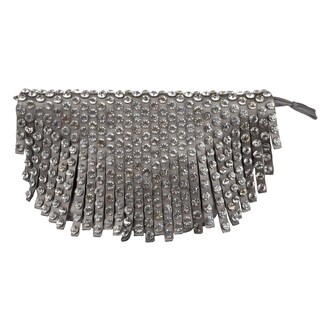 Journee Collection Women's Faux-Leather Bejeweled Fold-Over Evening Clutch