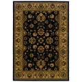 Traditional Oriental-pattern Black/ Ivory Area Rug (5'3 x 7'6)
