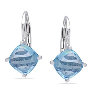 Miadora Sterling Silver Blue Topaz Leverback Earrings