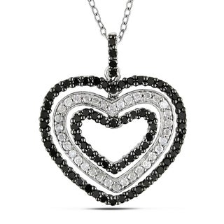 Miadora Sterling Silver 1ct TDW Black and White Diamond Heart Necklace