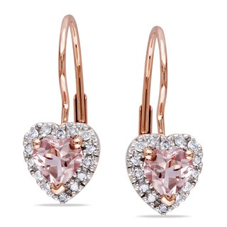 Miadora 10k Rose Gold Morganite 1/6ct Diamond Heart Earrings (H-I, I2-I3)