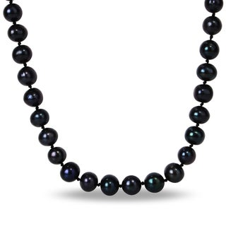 Miadora Black Licorice Cultured Freshwater Pearl Necklace (10-11 mm)