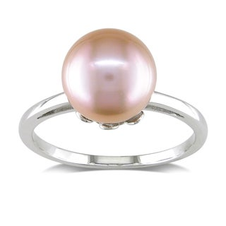 Miadora 14k White Gold Freshwater Pink Pearl Ring (10-10.5 mm)