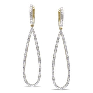 Miadora 14k Yellow Gold 1/4 TDW Diamond Dangle Earrings (G-H, SI1-SI2)