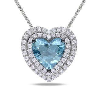 Miadora 14k White Gold 1 2/5ct TDW Blue and White Diamond Heart Necklace
