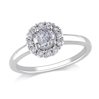 Miadora 14k White Gold 3/4ct TDW Round Halo Diamond Ring (G-H, I1-I2)