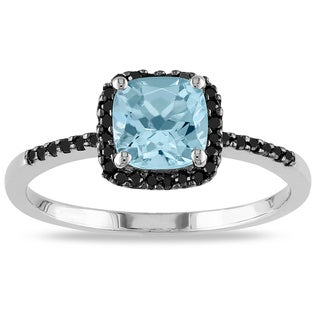 Miadora Sterling Silver Aquamarine and 1/6ct TDW Black Diamond Ring