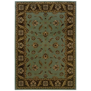 Traditional Blue/ Brown Area Rug (9'10 x 12'10)