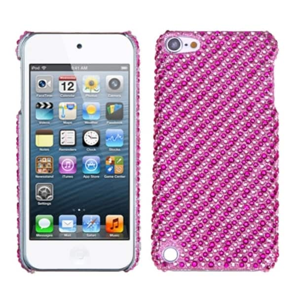 INSTEN Stripe Pink/ Hot Pink Diamante Back iPod Case Cover for Apple iPod Touch 5
