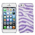 BasAcc White/ Purple Zebra Skin Pearl Diamante Case for Apple iPhone 5