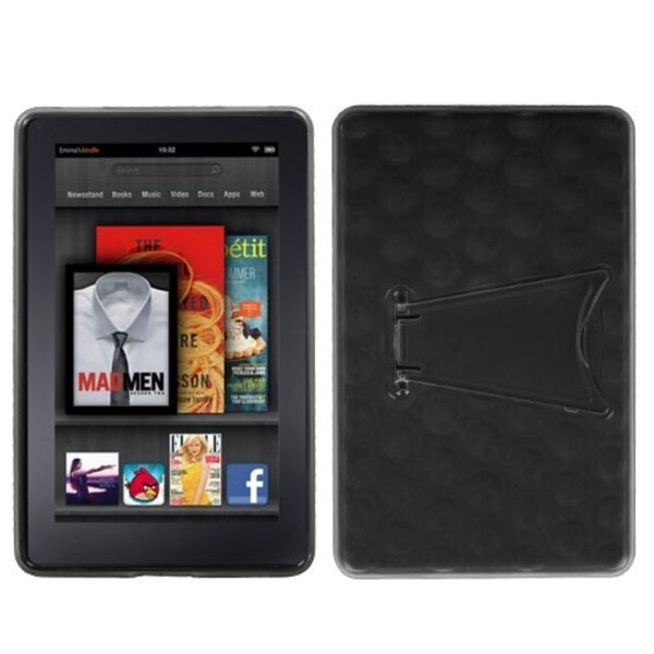 BasAcc Transparent Smoke/ Solid Black Case with Stand for Kindle Fire