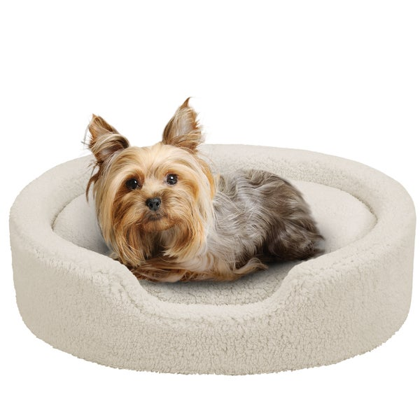 Oval Cuddler with Cushion Cream Pet Bed