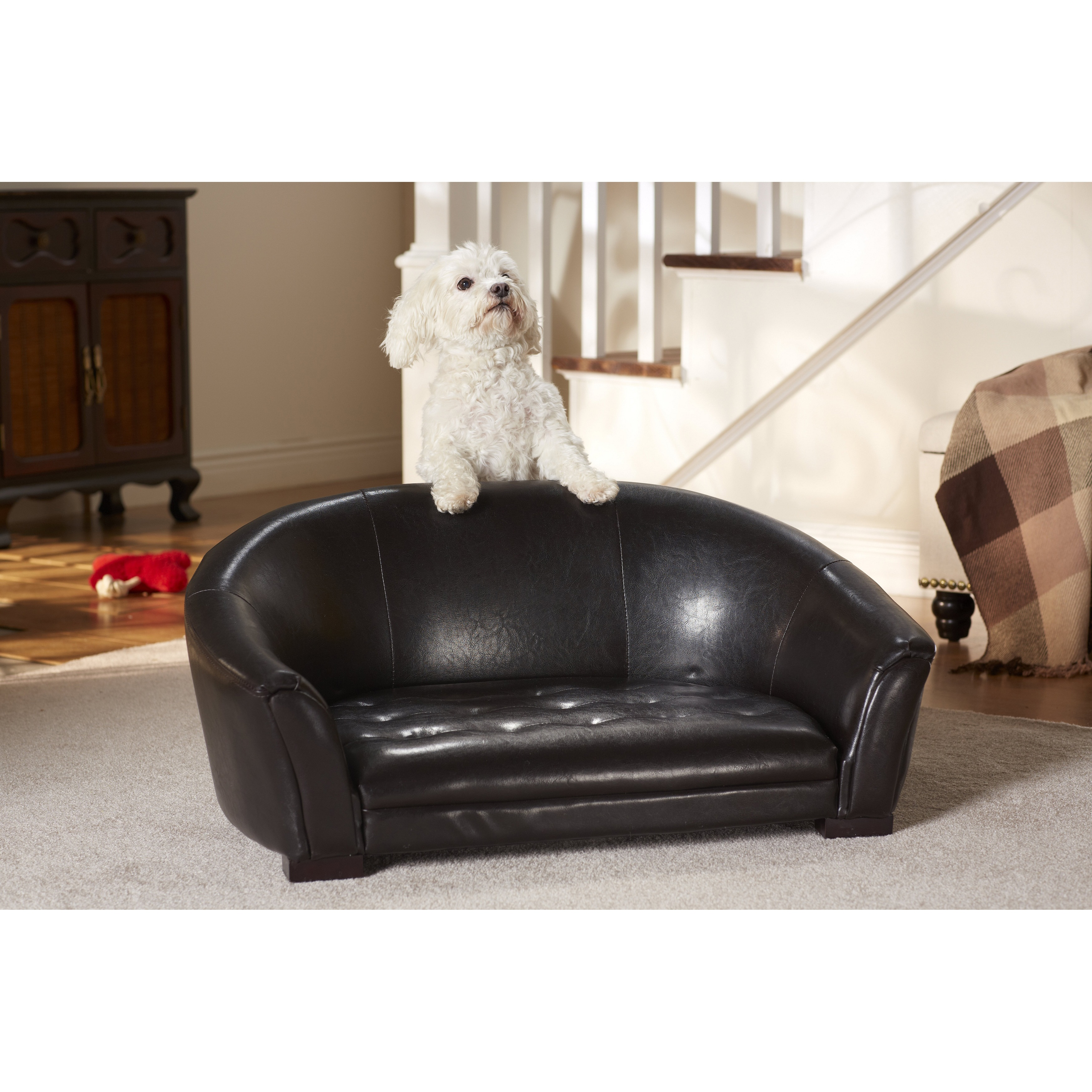 enchanted home pet artemis faux leather pet sofa overstock shopping the best prices on pet. Black Bedroom Furniture Sets. Home Design Ideas